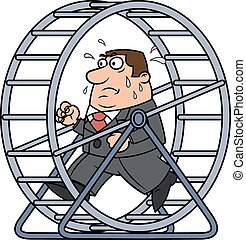 Businessman in a hamster wheel - Illustration of the tired...