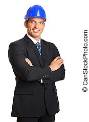 Businessman in a helmet closeup