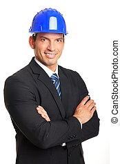Businessman in a helmet