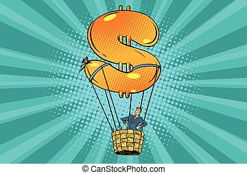 businessman in a hot air balloon dollar