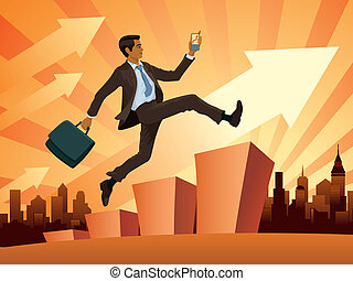 Illustration of a young businessman in a hurry