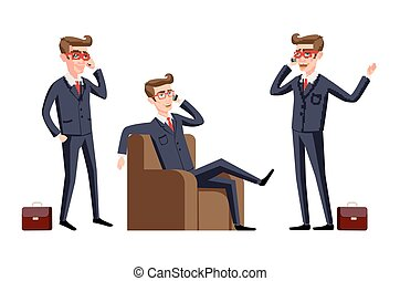 Businessman in a office workplace is sitting on a table and talking on the cellphone. Vector illustration. phone