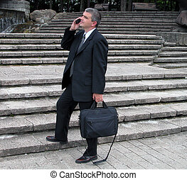 Businessman in a park - Businessman speaking to the phone in...