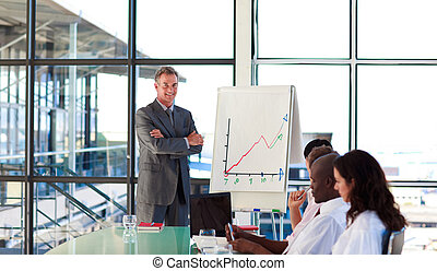 Businessman in a presentation with folded arms