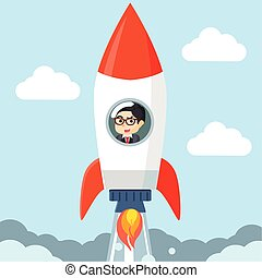 businessman in a rocket in the
