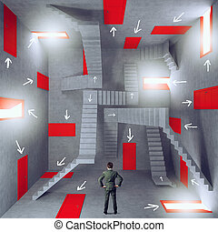 Confusion and complexity with a businessman in a room full of doors and stairs. Concept of bureaucracy and stress