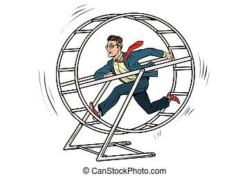 businessman in a squirrel wheel. Pop art retro comic book...