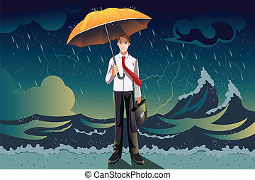 A vector illustration of a businessman holding an umbrella in the middle of a storm, can be used for weather the storm concept