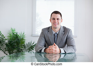 Businessman in a successful negotiation - Young businessman...