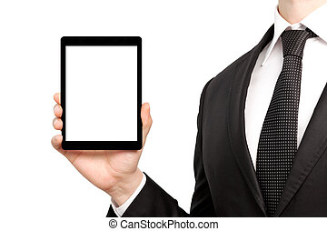 businessman in a suit holding a tablet with isolated screen