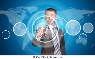 Businessman in a suit pointing her finger at the empty circle frame