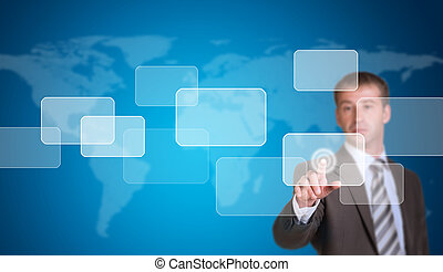Businessman in a suit pointing her finger at the empty frame