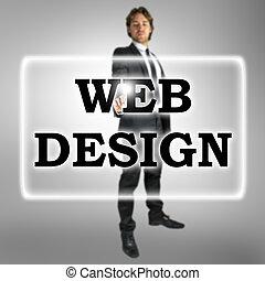 Businessman in a Web Design concept