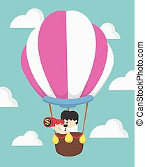 Businessman in air balloon search to success. Business concept