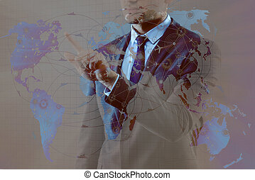 Businessman in air transportation concept