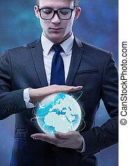 Businessman in air travel concept