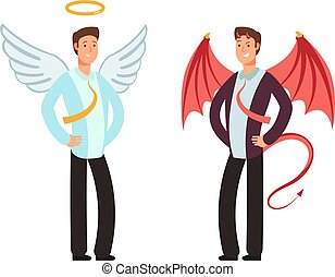 Businessman in angel and demon suit. Vector characters for good and bad way choice concept