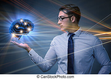 Businessman in artificial intelligence concept