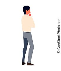 businessman in back position on white background