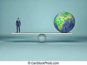 Businessman in balance with earth globe