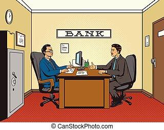 Businessman in bank pop art retro style vector