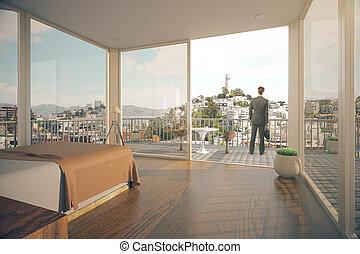 Businessman in bedroom interior