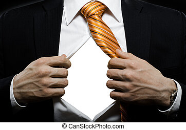 businessman in black costume throw open one's shirt, close ...