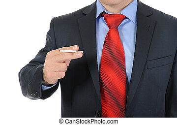 Businessman in black suit holding a cigarette