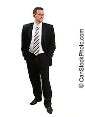 businessman in black suit thinking
