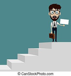 Businessman in black suit with suitcase climbing the stairs of success flat style vector illustration