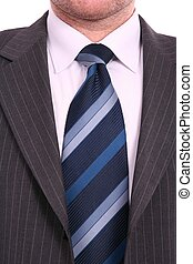 businessman in bleu tie and gray suit, close up