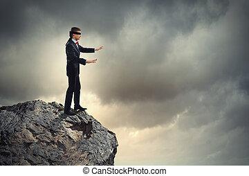 Businessman in blindfold - Image of businessman in blindfold...