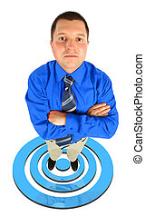 businessman in blue shirt standing on blue shooting mark collage