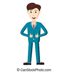 Businessman in blue suit icon, cartoon style