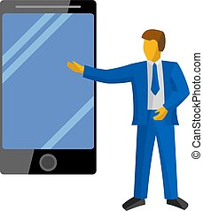Businessman in blue suit present new big phone.