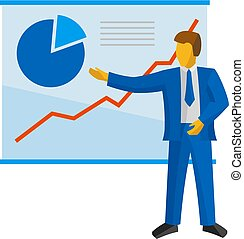 Businessman in blue suit shows a poster with charts.
