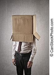 Businessman in box