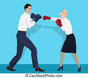 Businessman in boxing gloves having a fight with businesswoman. Fighting business partners.