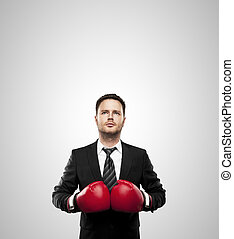 businessman in boxing gloves