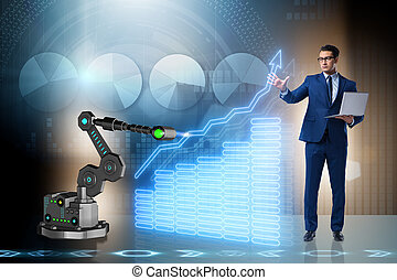 Businessman in business concept with robotic arm