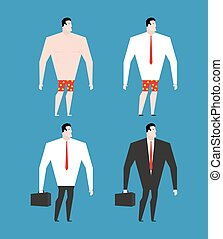 Businessman in business suit and briefcase. Set man in...