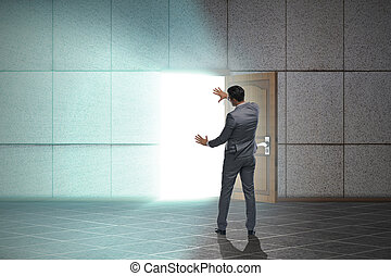 Businessman in business uncertainty concept