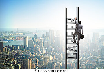 Businessman in career ladder concept