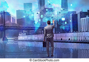 Businessman in cloud computing concept
