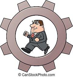 Businessman in cogwheel machine 2