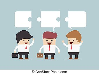 Businessman in conversation, Group of businessman with jigsaw text box, VECTOR, EPS10