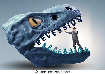 Businessman in crisis and recession concept