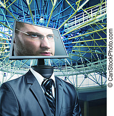 Businessman in cyberspace - Businessman with a computer...