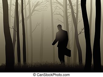 Businessman In Dark Woods