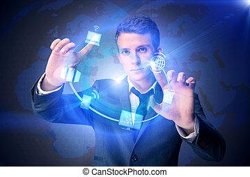 Businessman in data computing concept